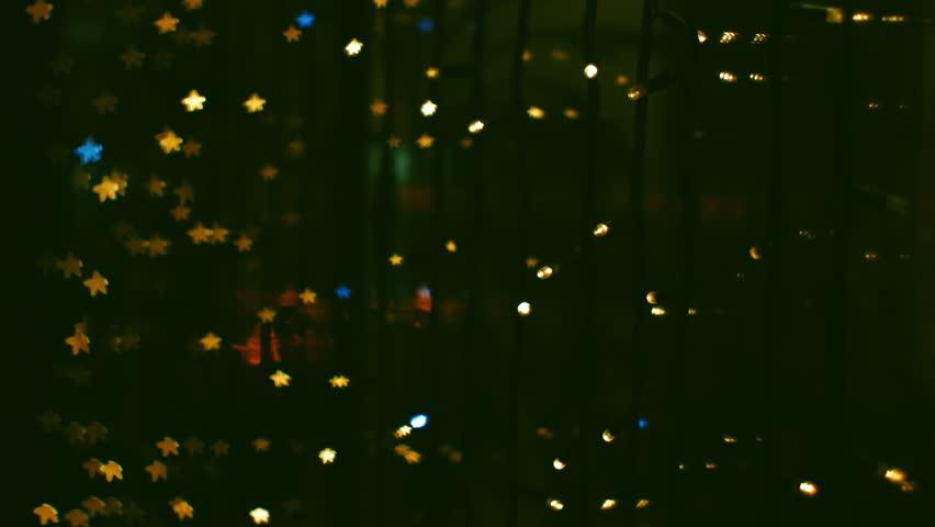 Glitter Stars Christmas Decoration Loop Yellow Purple