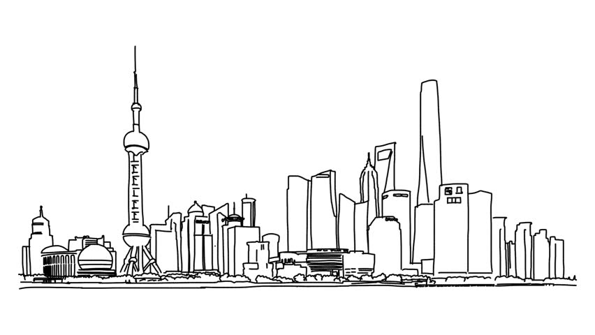 shanghai city outline animation hand stock footage video