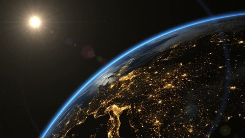 Europe from space. Pan to night side. The European states from space. Clip contains earth, europe, sunrise, space, map, globe, satellite, planet, european, european union. Images from NASA.