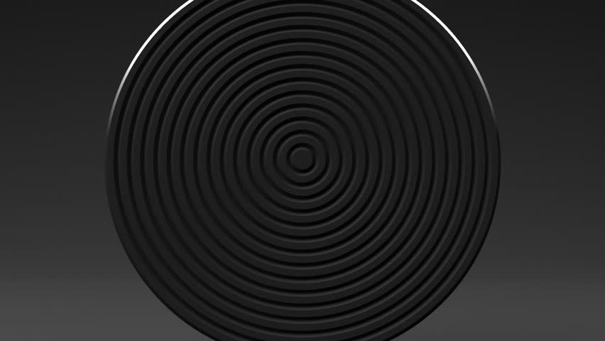 Spotlighted White Circle Abstract On Black Background. Loop able 3D render Abstract Animation.