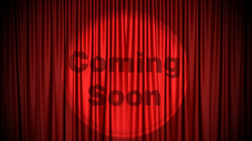 Red, Cinema style curtain with Coming Soon projected on it opens to green screen. Also comes with the Alpha Matte!