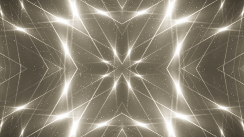 VJ Fractal gold kaleidoscopic background. Background motion with fractal design. Disco spectrum lights concert spot bulb. Light Tunnel.