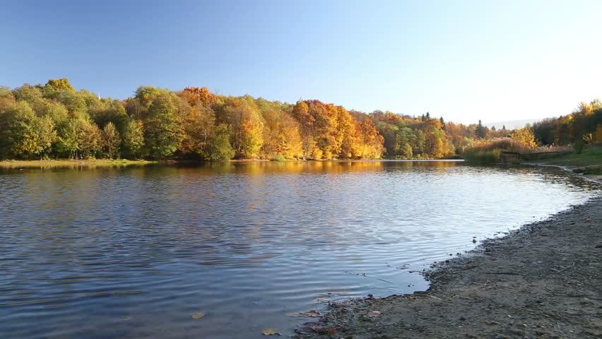 Beautiful autumn landscape on the river | Shutterstock HD Video #15177913