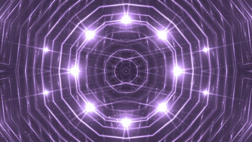 VJ Fractal violet kaleidoscopic background. Background purple motion with fractal design. Disco spectrum lights concert spot bulb. Light Tunnel.   Shutterstock HD Video #15230803