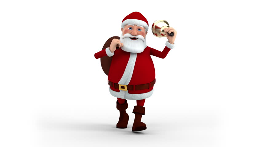 Cartoon Santa Claus walking with gift bag and bell - front view - high quality 3d animation
