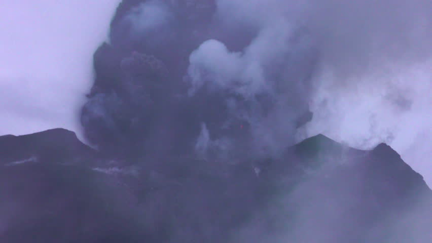 Huge Explosion Of Tungurahua Volcano With Large Amount Of Lava And Ash Thrown In The Atmosphere Super Telephoto Shot