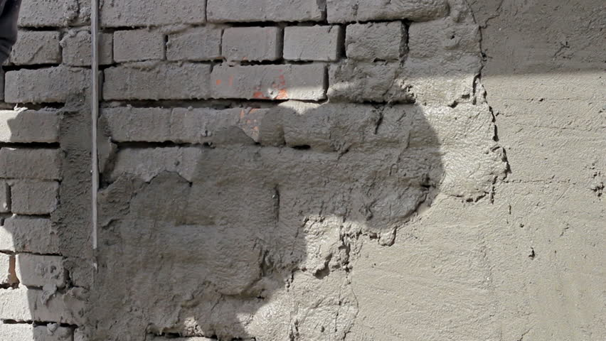Sand And Cement Rendering On Brick Wall Applying Plaster To A