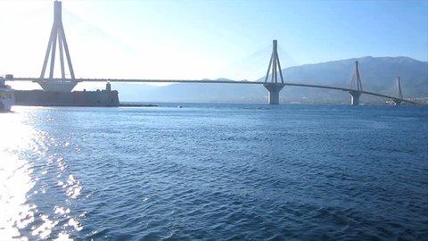 Departure and bridge 2                                             Travelling along the suspension bridge in Rio-Antirrio, Greece