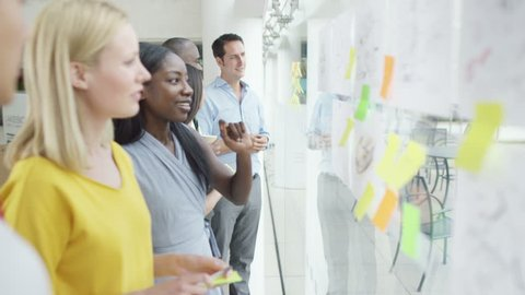 4K Creative design business team brainstorming for ideas with sticky notes