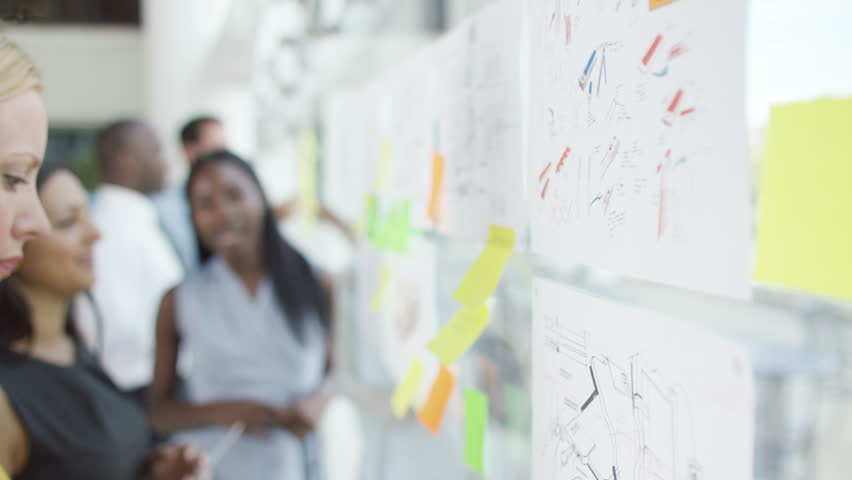 4K Female creative design team brainstorming for ideas with sticky notes | Shutterstock HD Video #15264517