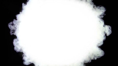 White Ink Explosion Cloud In Slow Motion. Fantastic white ink explosion cloud filmed in super slow motion. Filmed on a black background so great for matte tracks and ink reveal effects.