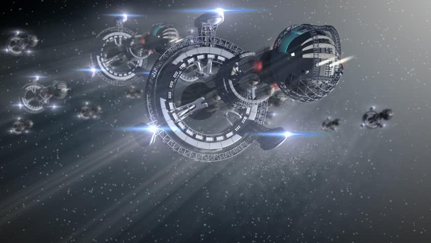 Fantasy alien spaceships in intergalactic travel