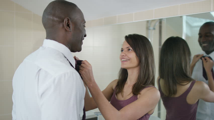 4K Attractive couple getting ready in the bathroom in the morning | Shutterstock HD Video #15284743