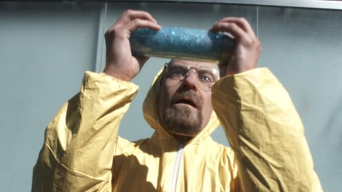 LAS VEGAS, NEVADA - CIRCA 2016: TV show character Walter White aka Heisenberg from Breaking Bad shows his famous blue meth on the streets of Las Vegas, editorial use.