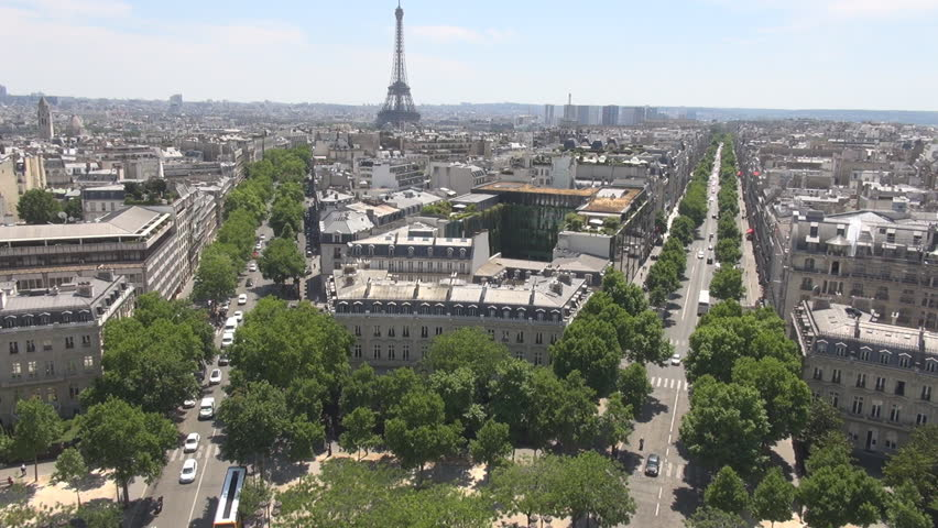 PARIS FRANCE - 1 August 2015 Paris aerials with Champs Elysees and Eiffel Tower, tourism symbol in France | Shutterstock HD Video #15318073
