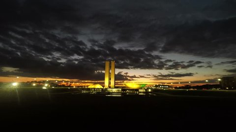 BRASILIA, BRAZIL. February, 11, 2016 . View of the National Congress (Chamber of Deputies and Federal Senate) in the early morning with the rising sun, in Brasilia, Brazil.