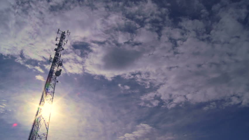Communication Tower with clouds time lapse