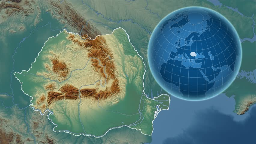 Relief Map Of The World.Romania Shape Animated On The Relief Map Of The Globe