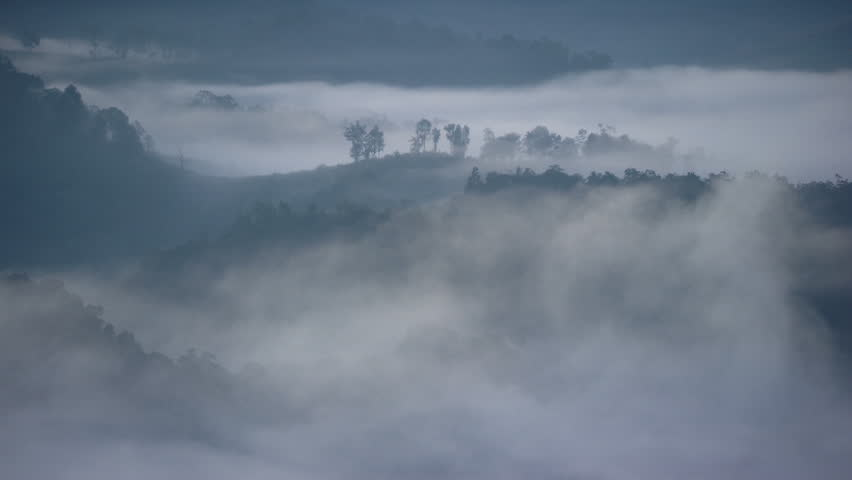 The sea fog over mountains in the morning in Mae Lana, Mae Hong Son, Thailand | Shutterstock HD Video #15390703