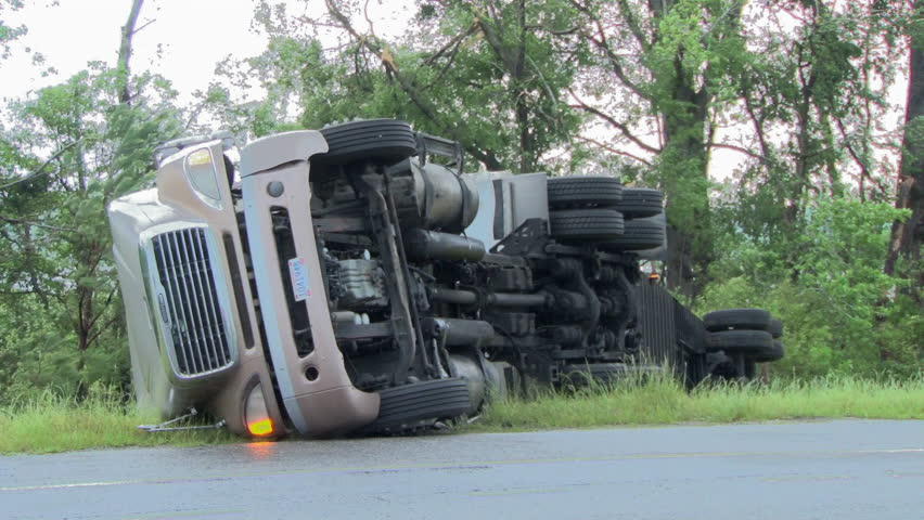 18 wheeler truck is flipped over by a tornado near Tuscaloosa Alabama on April 27 2011