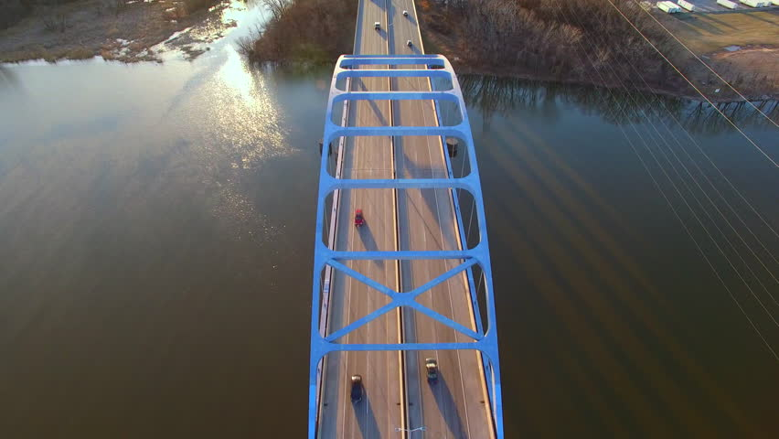 Scenic Tower Drive Bridge at sunrise, stunning aerial view on Spring morning.  | Shutterstock HD Video #15407503