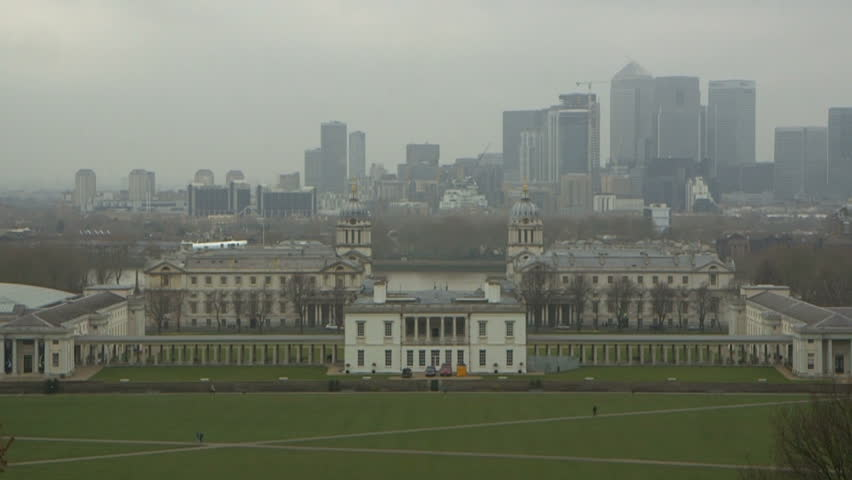 Greenwich College viewed from the Observatory in Greenwich Park. Greenwich College and in the distance Canary Wharf.