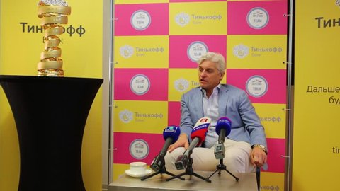 MOSCOW - JUN 03, 2015: Oleg Tinkoff during interview. Tinkoff Saxo bank - sponsor of Spanish team won cycling in Giro d Italia 2015