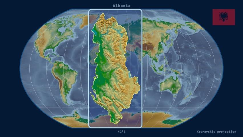 North Korea Shape Animated On The Satellite Map Of The Globe Stock - Albania satellite map