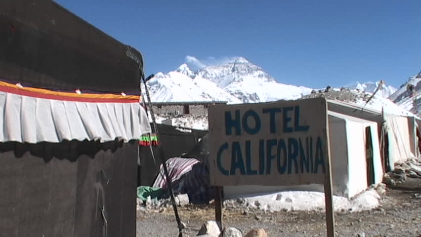 Hotel California sign with Mt. Everest in the background