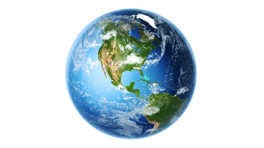 4K Realistic Earth Rotating on White (Loop). Globe is centered in frame, with correct rotation in seamless loop. Texture map courtesy of NASA.