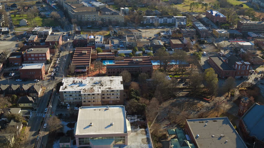 Atlanta Aerial v162 Flying low over MLK Center panning in Sweet Auburn neighborhood.