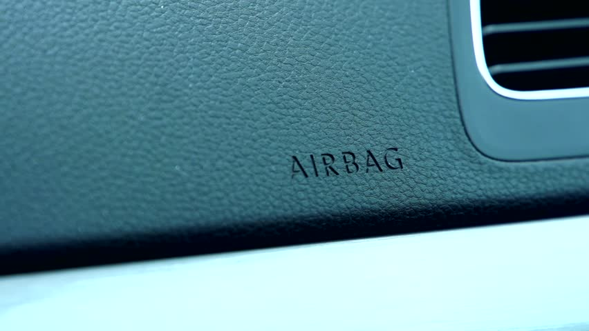 Slowmotion view on airbag system in car.