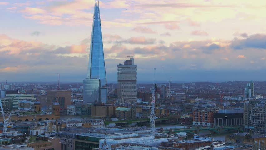 London aerial view in the evening - LONDON / ENGLAND  JANUARY 17, 2016 | Shutterstock HD Video #15512380
