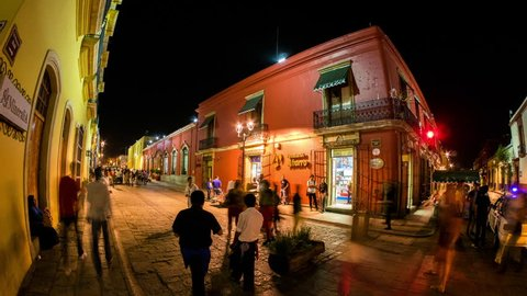 OAXACA - 22 FEB 2014: Timelapse view of Oaxaca city in Mexico by Night. Oaxaca de Juarez is the capital of Oaxaca state and a popular tourism destination on 22 February 2014 in Oaxaca, Mexico