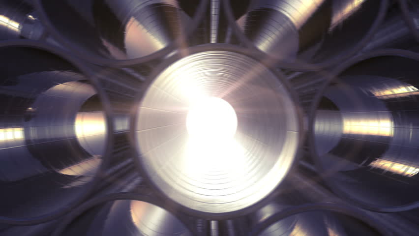 Rows of Metal Pipes with reflections and Sun Flares inside. Looped 3d animation. HD 1080. Steel pipes at metal factory.