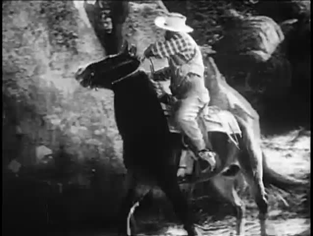Rear view of cowboy riding horse on dirt road, 1940s | Shutterstock HD Video #15544093