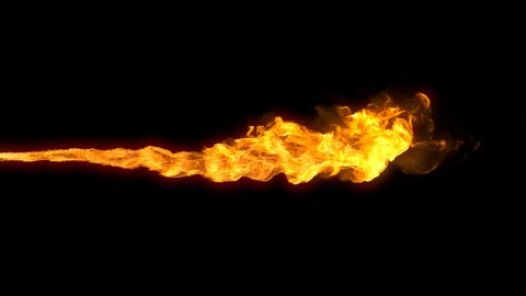 Animated realistic stream of fire like flamethrower shot or fire-breathing dragon's flames. Clip with alpha channel.