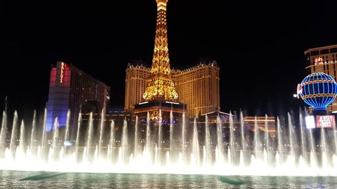 LAS VEGAS, NV/USA - MARCH 25: Bellagio water fountains show in Las Vegas, NV, USA on March 25, 2016. It is one of the most breathtaking attractions on the Las Vegas Strip.