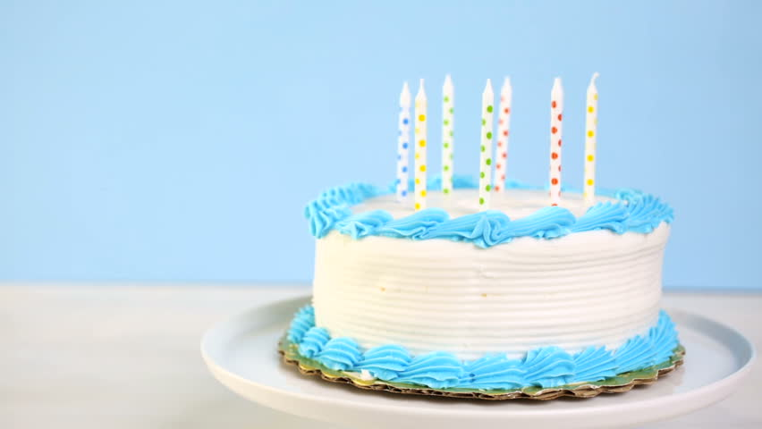 Simple White Birthday Cake With Cake Candles Stock