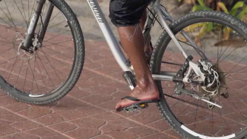 Cyclist Man Walking On Bridge With Fixed Gear Sport Bike In Sunny