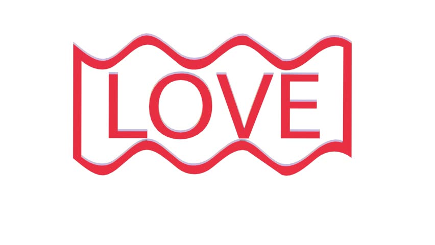 Animation Of Love Word D Render
