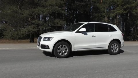 MINSK, BELARUS - MARCH 31, 2016: Audi Q5 2.0 TFSI at the test drive in Minsk, Belarus. Audi Q5 SUV is powered by 2.0 liter turbocharged engine, which produces 230 hp of power.