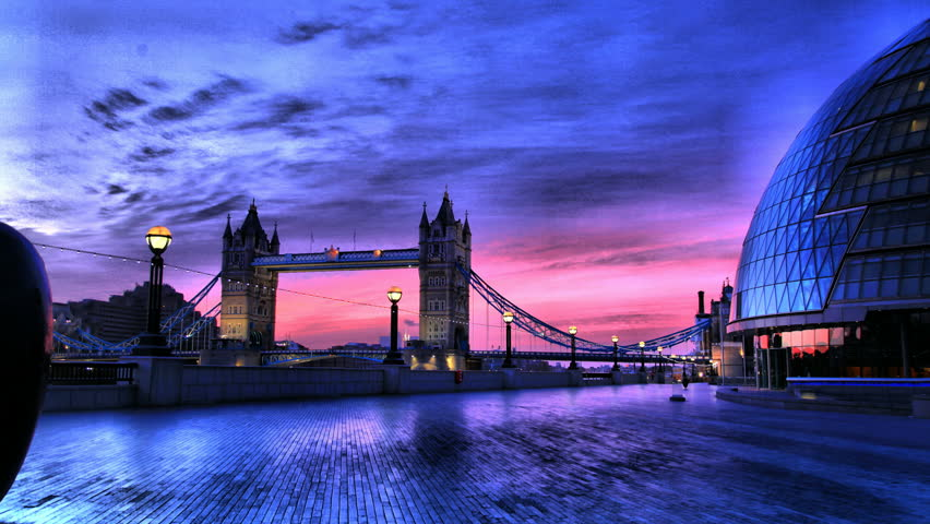 A HDR Tracking Timelapse of Tower Bridge and the Mayor's office, London, Sunrise #1570045