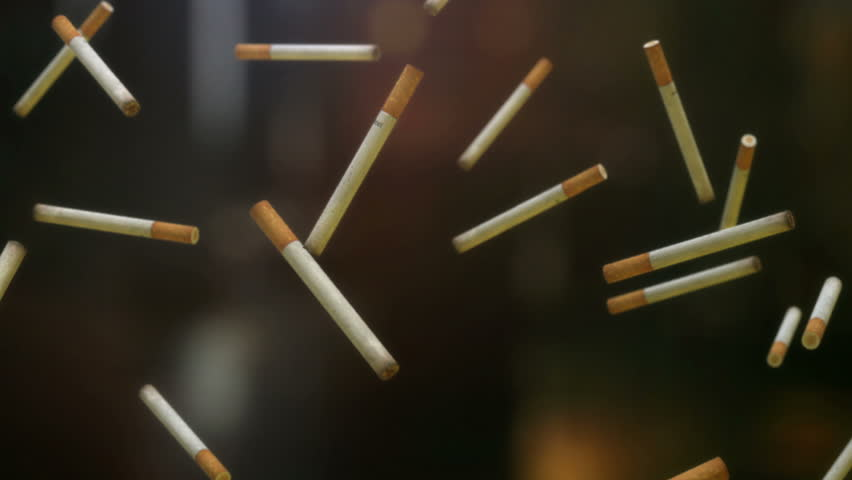 3D loopable animation of falling cigarettes