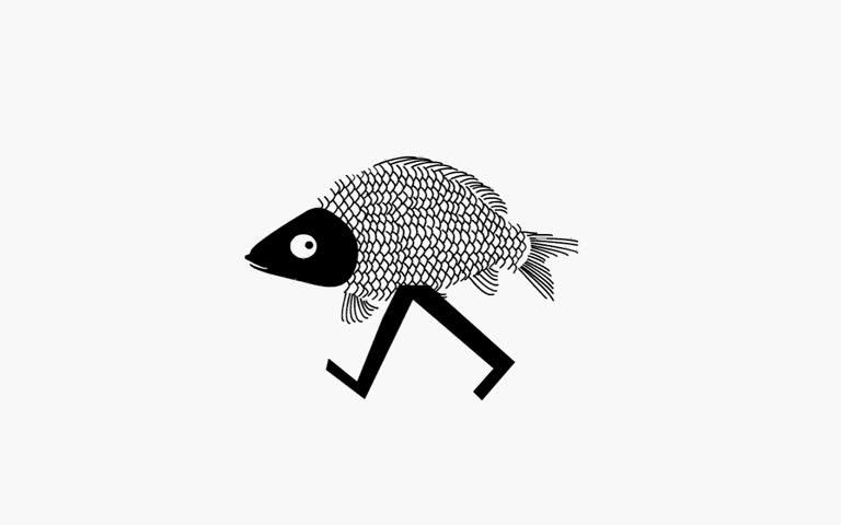 Funny walking fish (loop animation)