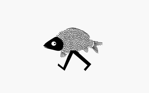 Funny walking fish (loop animation)