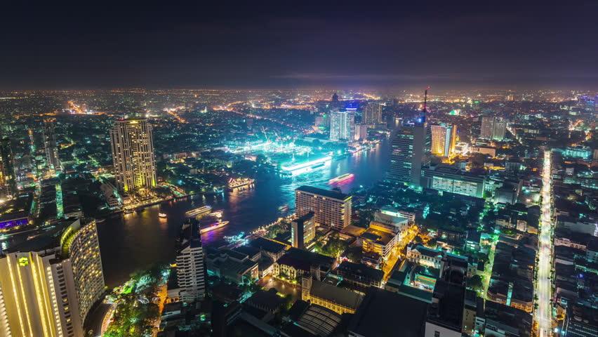 Night illumination roof top bangkok bay traffic panorama 4k time lapse thailand | Shutterstock HD Video #15711700