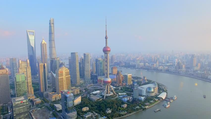 Aerial view of ShangHai bund skyline.