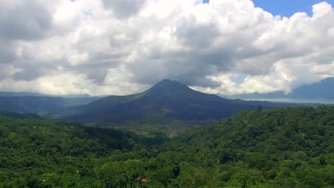 4K aerial footag of Panoramic aerial of volcano Gunung on a beautiful day