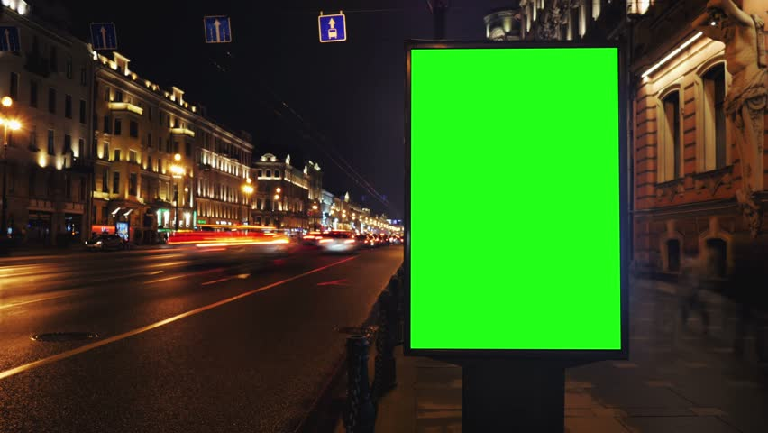 A Billboard with a Green Screen on a Busy Night Street.Time Lapse. | Shutterstock HD Video #15819577